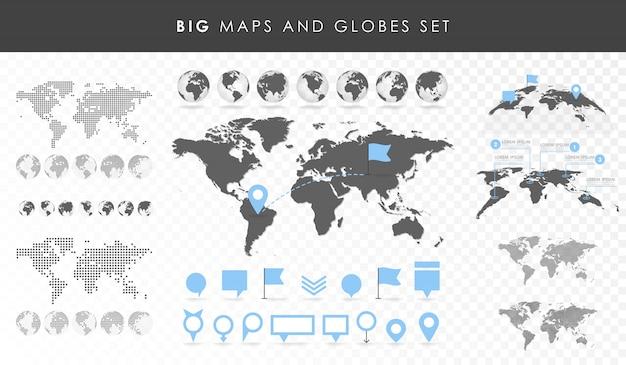 Большой набор карт и глобусов. коллекция булавок. разные эффекты. прозрачная векторная иллюстрация