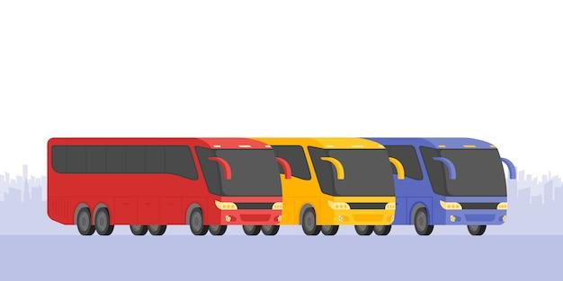 Угловой вид трех автобусов на дороге, векторная иллюстрация