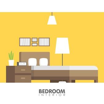 Современная спальня дизайн интерьера значок. векторная иллюстрация