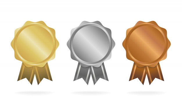 Первое место. второе место. третье место. набор медалей премии, изолированные на белом с лентами и звездами. векторная иллюстрация
