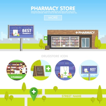 都市部の薬局の正面、薬と丸薬の販売。