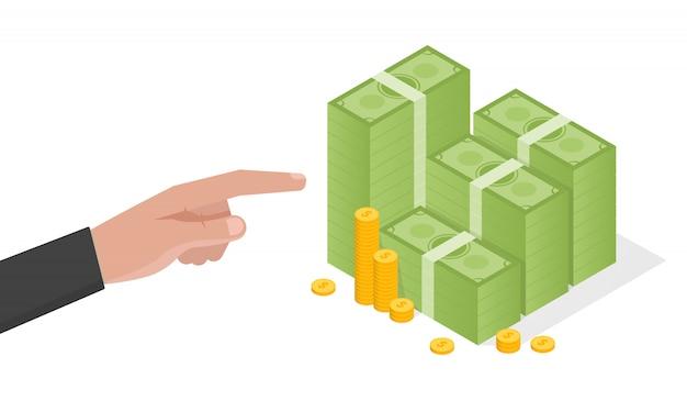 実業家の手が緑のドルのお金のベクトル図のスタックを指す
