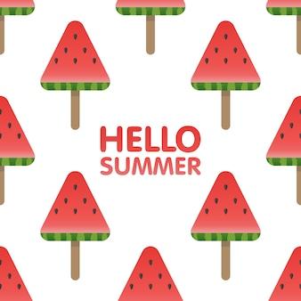 Привет лето буквы на фоне бесшовные модели арбуз