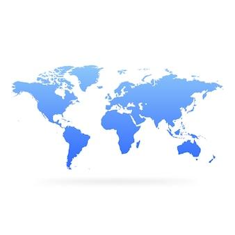 青のグラデーション世界地図。空白のグローブ