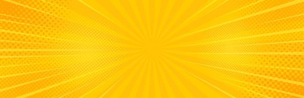ビンテージポップアート黄色の背景。