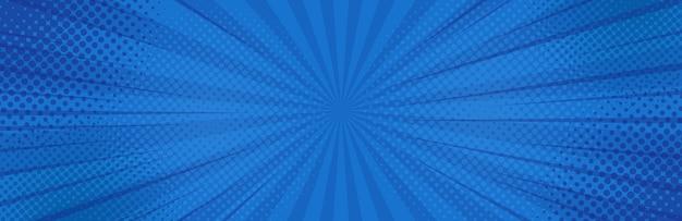 ビンテージポップアートブルーの背景。