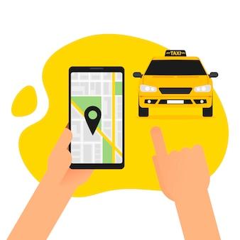 Заказ онлайн такси на иллюстрации смартфона