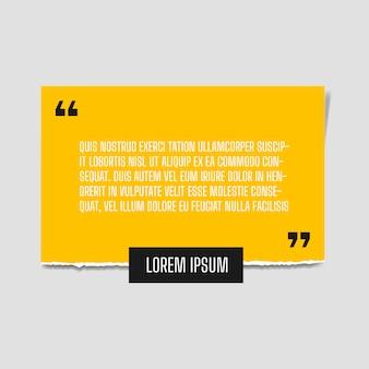 白い壁に取り付けられた深い黄色の紙の引用と紙