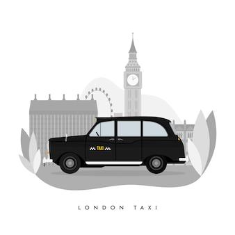 Лондонская классическая черная иллюстрация такси