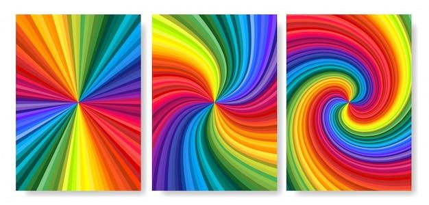 中心に向かってねじれた鮮やかな虹色の渦巻きの背景セット。