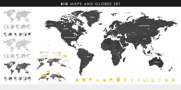 高詳細地図と地球儀の大きなセット。