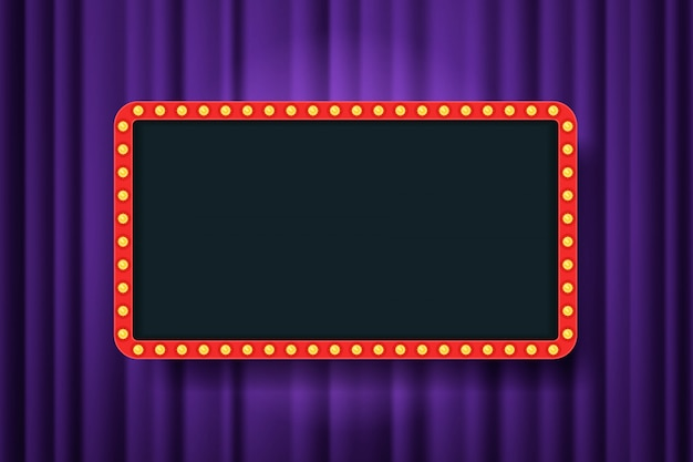 紫の劇場のカーテンの空スペースで電球フレーム