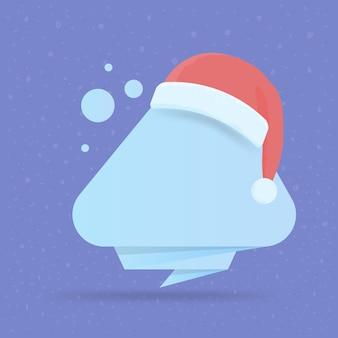 Современный шаблон новогоднего и рождественского баннера с новогодней шапкой