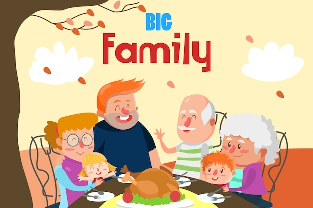 大きな家族の図との夕食