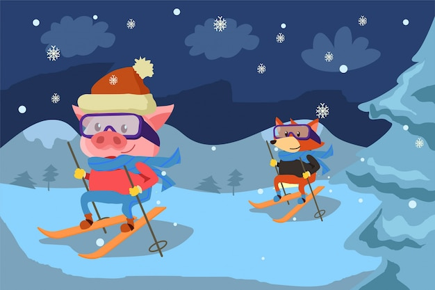 Счастливое катание на лыжах