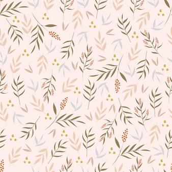 植物の要素とのシームレスなパターン