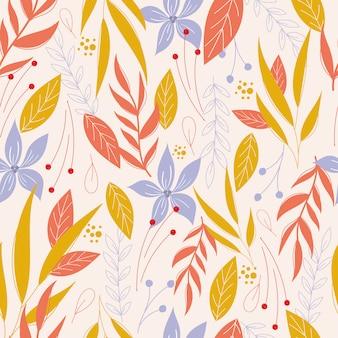 葉と花のサムレスパターン。植物パターン
