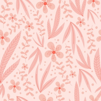 パステルピンクの葉と花を持つ植物のシームレスなパターン。