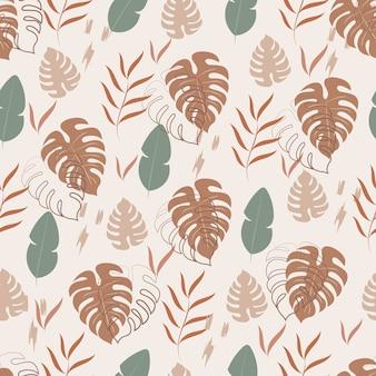 熱帯の葉とのシームレスなパターン
