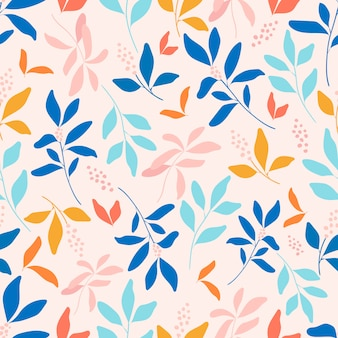葉と花のシームレスパターン