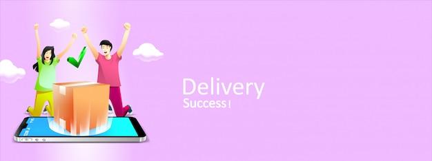 Мужчина и девушка получают услуги быстрой доставки, покупают в электронной коммерции.