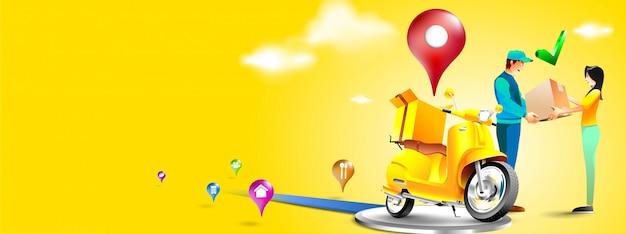 Быстрая доставка посылки скутером на мобильный телефон. заказать пакет в электронной коммерции через приложение. курьер отправляет посылку на мотоцикле. трехмерная концепция. векторная иллюстрация