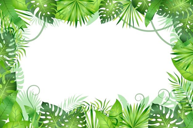 ジャングルの背景。熱帯の葉のフレーム。熱帯雨林の観葉植物、緑の草の木。パラダイスワイルドライフジャングル