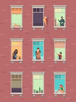 人と窓。開いた窓の隣人は、自宅の朝に運動するアパートの建物の外観を伝えます