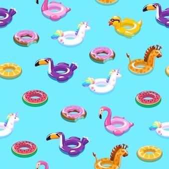 スイミングおもちゃのシームレスなパターン。プール浮遊夏の膨脹可能なおもちゃの海の印刷物の浮遊物の子供の方法織物の印刷物の漫画