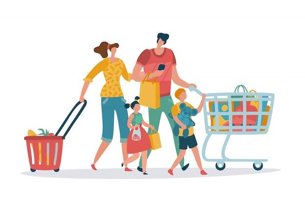 ショッピング家族。ママパパキッズショップバスケットカート消費小売購入ストア食料品店スーパーマーケット漫画買い物客