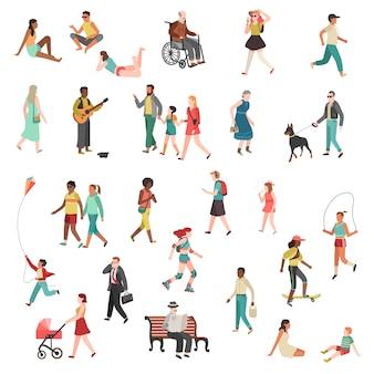 Ходят плоские люди. персонаж человек стоящий говорящий бегущая женщина мужчина девушка город улица дети собаки велосипеды мультфильм