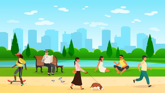 公園を歩く人々。女性の男性の活動アウトドアスポーツグループ実行コミュニティ楽しい散歩自然漫画ライフスタイル