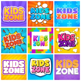 キッズゾーン。デザイン漫画テキストのキンダープレイルーム。公園、背景を遊んでいる子供たち。