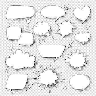 漫画の吹き出し。漫画の漫画の話と思考の泡。レトロな音声図形セット