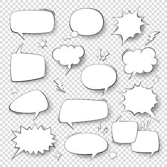 スピーチの泡。ヴィンテージの単語の泡、レトロな陽気な漫画の形。ハーフトーンベクトルセットと考える雲