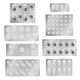 Реалистичные блистерные упаковки таблеток. капсулы медицинские таблетки обезболивающие препараты витамин антибиотик аспирин. набор для упаковки лекарств
