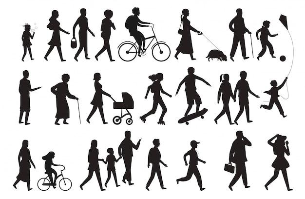 Силуэт идущих людей. группа людей молодая женщина леди и ребенок гуляет семья изолированные черный набор
