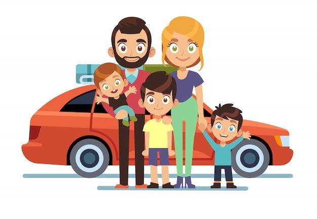 Семейный автомобиль. счастливые молодые родители отец мать дети домашнее животное авто образ жизни люди автомобильное путешествие отпуск путешествие поездка плоский дизайн