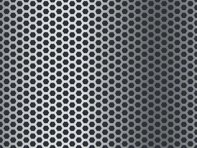 金属のテクスチャパターン。シームレス鋼板、ステンレスメッシュ。クロム六角グランジアルミニウム穴あきモザイク仕上げ背景