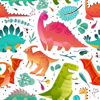 恐竜のシームレスなパターン。恐竜テキスタイルプリントドラゴン面白いモンスターかわいい動物子供壁紙色恐竜漫画テクスチャ