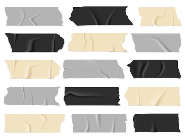 Скотч. прозрачные клейкие ленты, липкие кусочки. изолированный векторный набор
