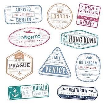 Марка путешествия. винтажные паспорта визы международных прибыли марки с текстурой гранж. устанавливать