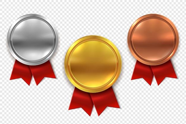 空のメダル。空白のラウンドゴールドシルバーとブロンズメダルと赤いリボンセット