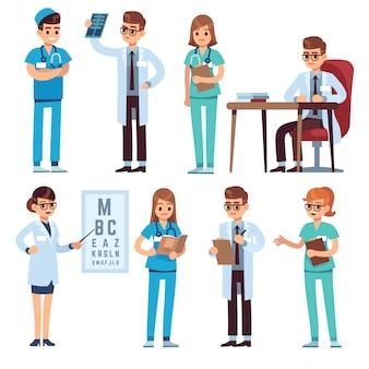 Команда врачей. медицинский персонал люди врач медсестра хирург фармацевт стоматолог профессиональный медик больницы униформа, персонажи