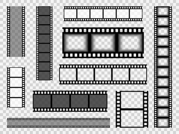フィルムストリップテンプレート。シネマモノクロボーダーテープ、メディア空の画像写真ビデオビンテージフレーム映画リールベクトルセット