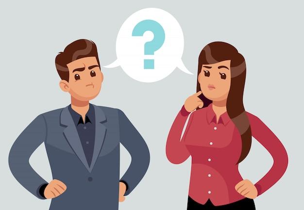 混乱しているカップル。思慮深い少女と男。問題を抱えた人々は疑問符で考えました。思考の概念