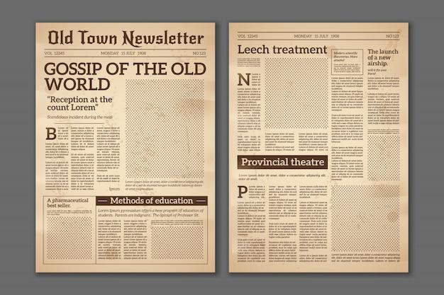 Винтажная газета. новости статьи газетная бумага журнала старого дизайна. брошюра газетных страниц. бумага ретро журнал вектор гранж шаблон