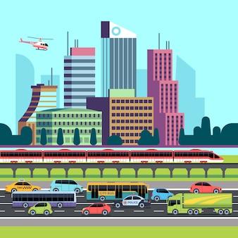 都市通りのパノラマ。車と都市交通の家が並ぶ通り。都市景観の高層ビルと交通の背景