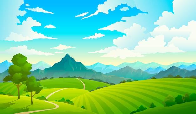 山のある牧草地。風景丘フィールド山土地空野生の自然の草の森の田舎の木。