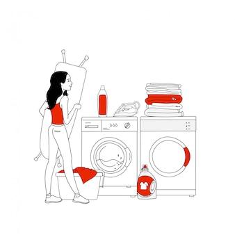 Иллюстрация внутреннего оборудования прачечной со стиральной машиной, бытовых изделий, кучу одежды, утюг. домохозяйка в прачечной. стиль линии